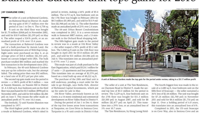 Balmoral Gardens unit tops gain for 2018, Singapore Property News