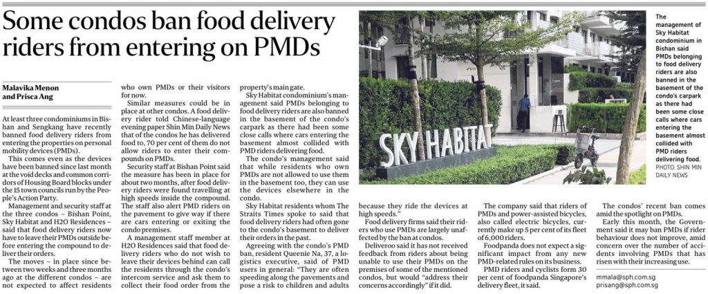 Some condos ban food delivery riders from entering on PMDs