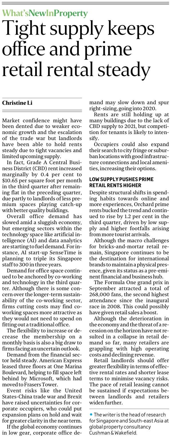 Tight supply keeps office and prime retail rental steady