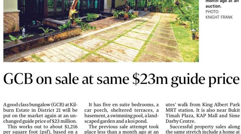 GCB on sale at same $23m guide price