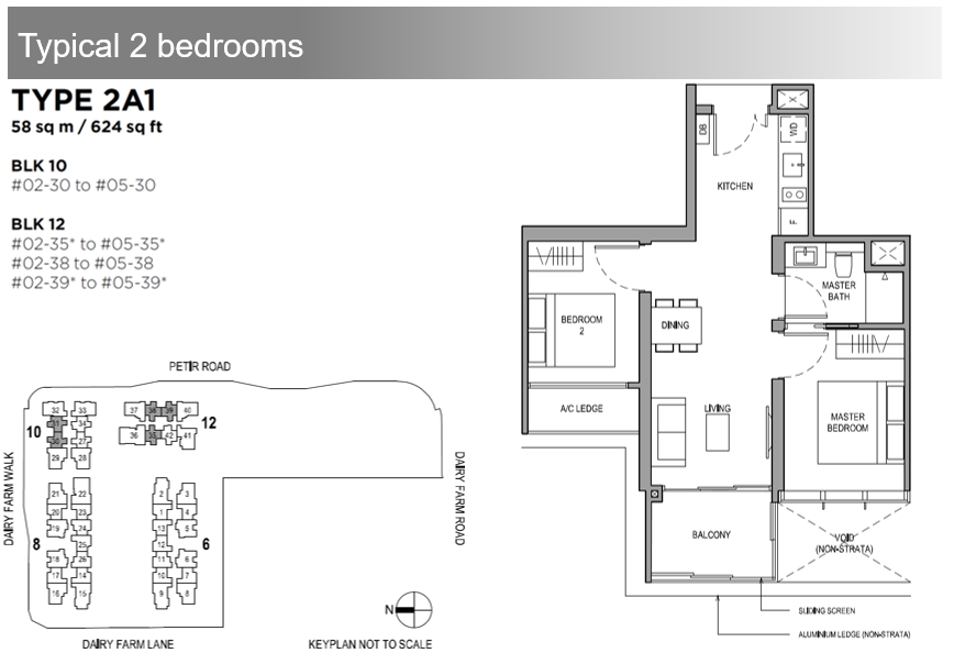Dairy Farm Residences 2 Bdrm Floor Plan