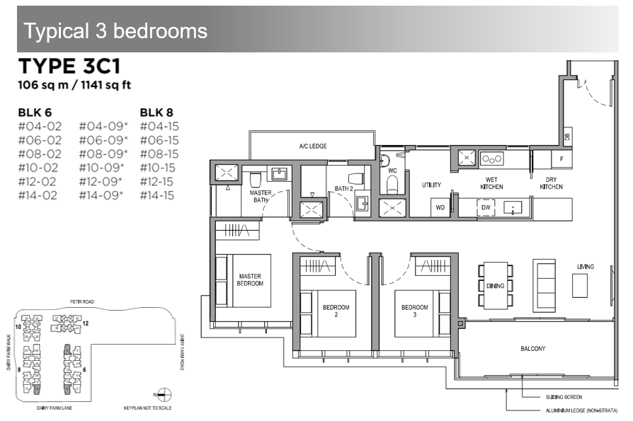 Dairy Farm Residences 3 Bdrm Floor Plan