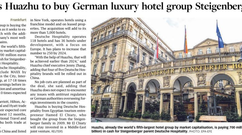 China's Huazhu to buy German luxury hotel group Steigenberger