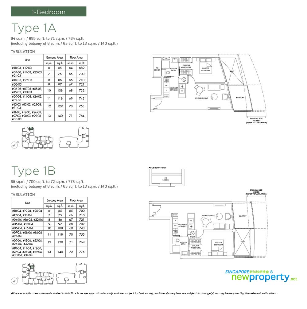 Marina One Residences -1 bdrm Floor Plan