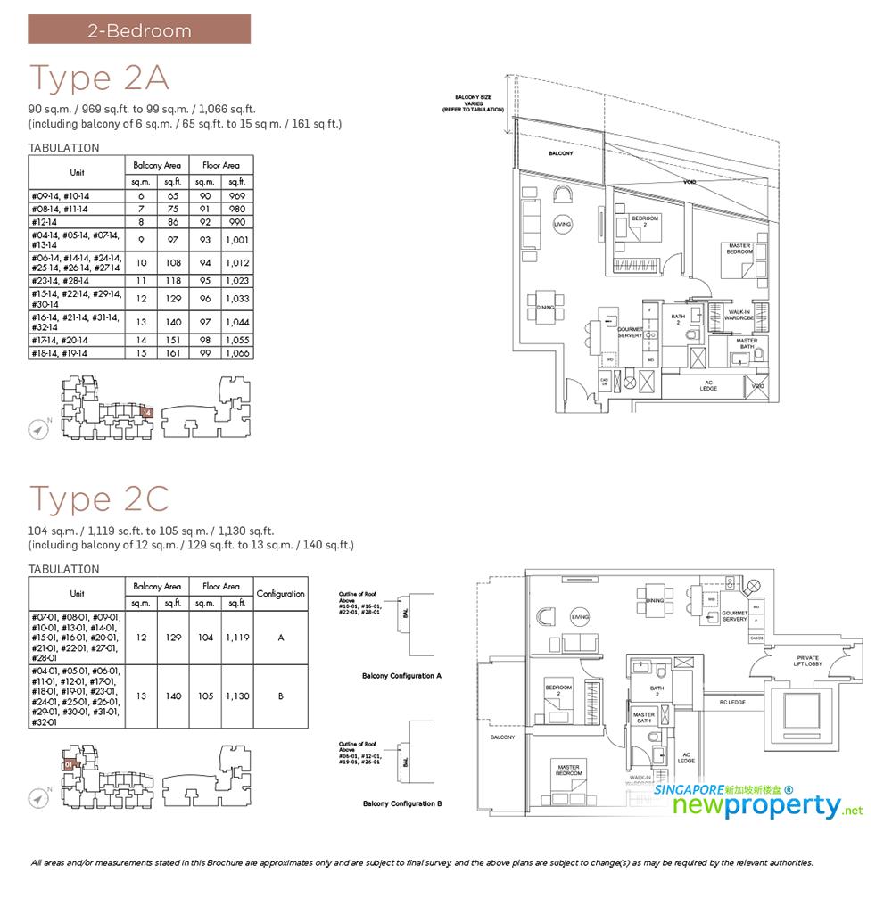 Marina One Residences -2 bdrm Floor Plan