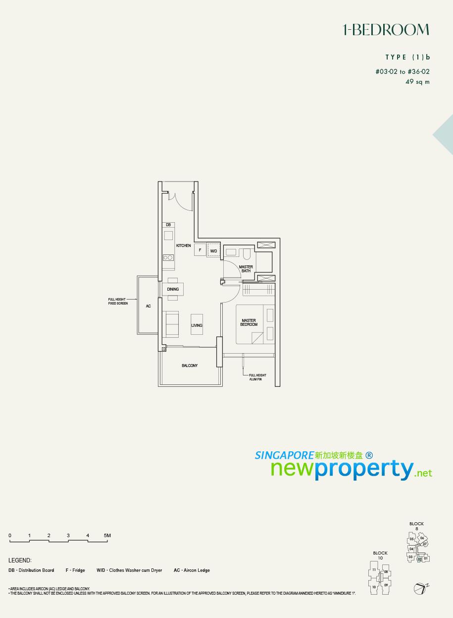 The Avenir - 1 Bedroom Floor Plan