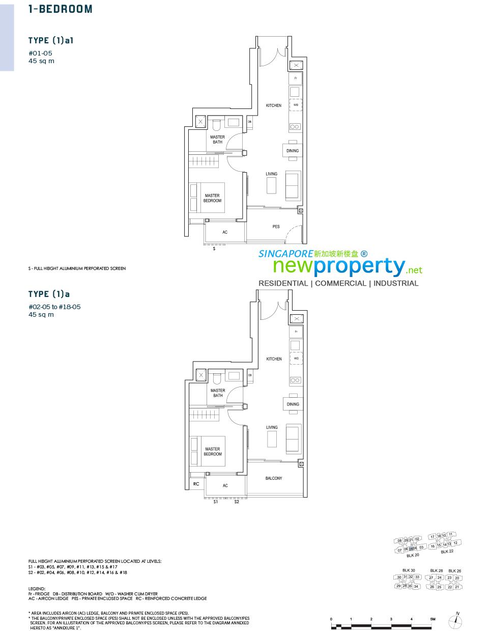 Penrose Floor Plan 1-Bedroom