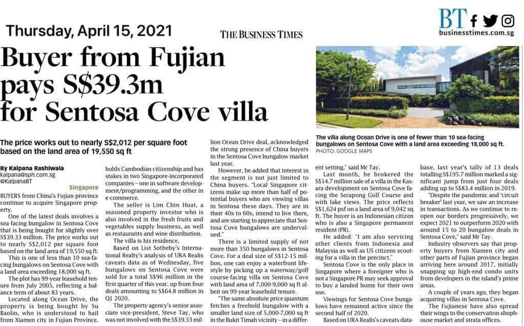 Buyer from Fujian pays S$39.3m for Sentosa Cove villa